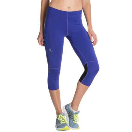 Salomon Agile 3/4 Capri Tights - UPF 50 (For Women) in Phlox Violet - Closeouts