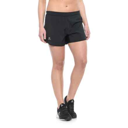 Salomon Agile Shorts - UPF 30, Built-In Brief (For Women) in Black - Closeouts