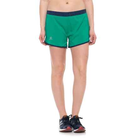 Salomon Agile Shorts - UPF 30, Built-In Brief (For Women) in Dynasty Green/Medieval Blue - Closeouts