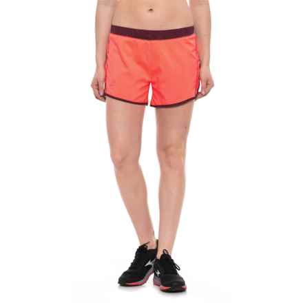 Salomon Agile Shorts - UPF 30, Built-In Brief (For Women) in Fluo Coral/Fig - Closeouts