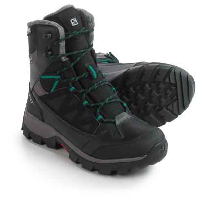 Salomon Chalten TS CSWP Winter Boots - Waterproof, Insulated (For Women) in Black/Autobahn/Veridian Green - Closeouts
