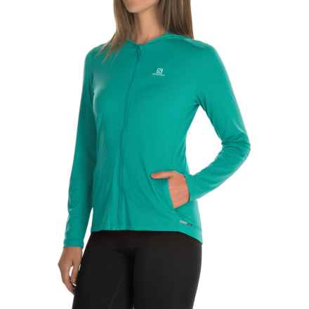 Salomon Comet Hoodie - UPF 50 (For Women) in Teal Blue - Closeouts