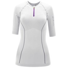Salomon EXO Motion Zip Neck Shirt - Short Sleeve (For Women) in White - Closeouts