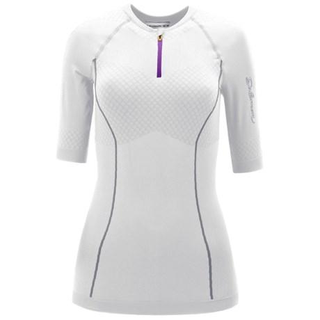 Salomon EXO Motion Zip Neck Shirt - Short Sleeve (For Women) in White