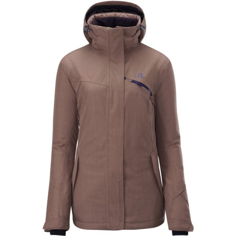 Salomon Fantasy Jacket - Waterproof, Insulated (For Women) in Mid Brown