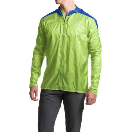 Salomon Fast Wing Hoodie - UPF 50 (For Men) in Granny Green/Union Blue - Closeouts