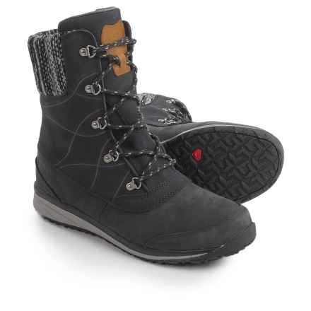 Salomon Hime Mid Leather Climashield® Snow Boots - Waterproof, Insulated (For Women) in Black/Asphalt/Pewter - Closeouts