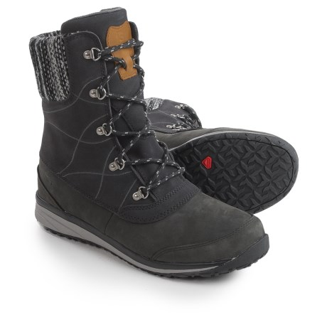 Salomon Hime Mid Leather Climashield® Snow Boots - Waterproof, Insulated (For Women) in Black/Asphalt/Pewter