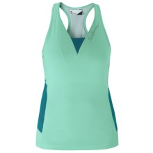 Salomon Impact Twinskin Tank III Tank Top - UPF 50+, Built-In Shelf Bra, Racerback (For Women) in Celadon/Dark Bay Blue - Closeouts