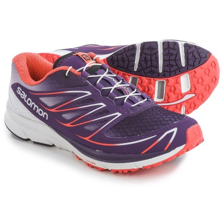 Salomon Sense Mantra 3 Trail Running Shoes (For Women) in Cosmic Purple/White/Coral Punch