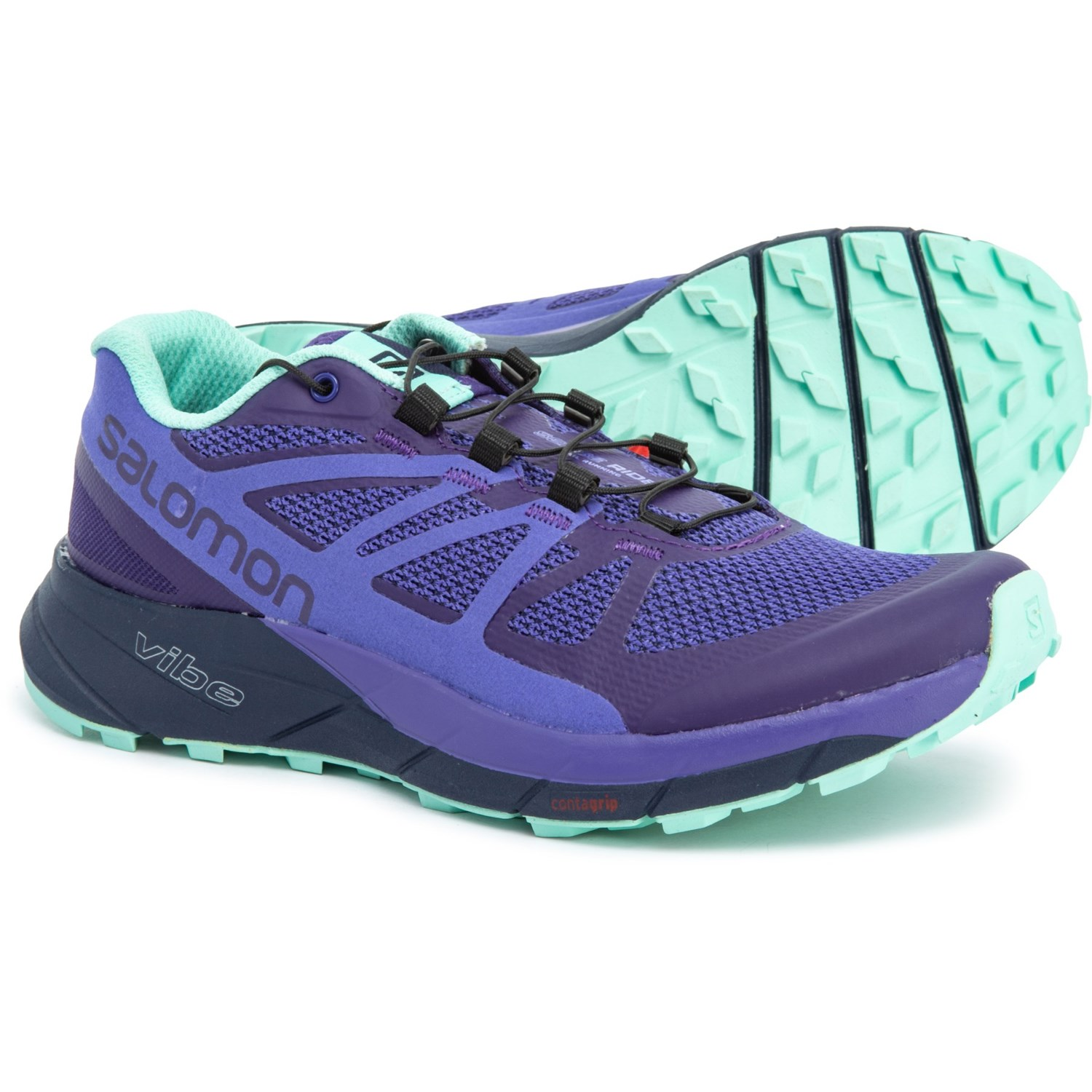 detailed look 8a6c0 f5746 Salomon Sense Ride Trail Running Shoes (For Women) in Parachute  Purple Purple Opulence