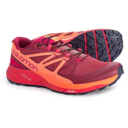 Salomon Sense Ride Trail Running Shoes (For Women) in Sangria/Living Coral/Virtual Pink