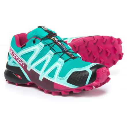 Salomon Speedcross 4 Gore-Tex® Trail Running Shoes - Waterproof (For Women) in Ceramic/Aruba Blue/Sangria - Closeouts