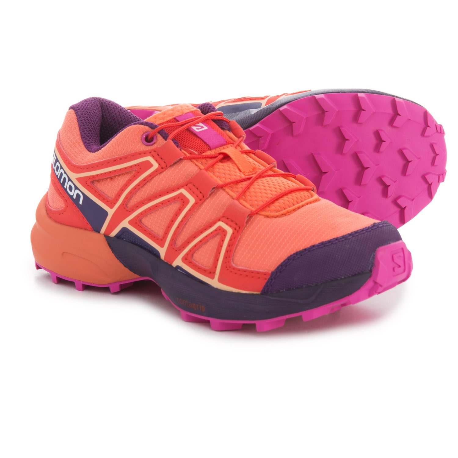 6647b4274140 Salomon Speedcross Trail Running Shoes (For Kids) in Living Coral Acai Rose
