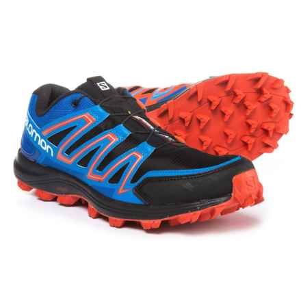 Salomon Speedtrak Trail Running Shoes (For Men) in Black/Blue Yonder/Lava Orange - Closeouts