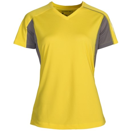 Salomon Trail IV Shirt - Short Sleeve (For Women) in Bright Yellow/Paloma