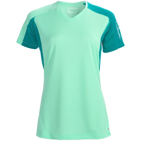 Salomon Trail IV Shirt - Short Sleeve (For Women) in Celadon/Dark Bay Blue