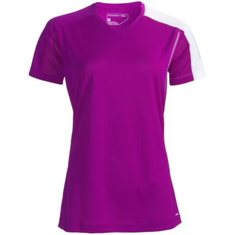 Salomon Trail IV Shirt - Short Sleeve (For Women) in Very Purple/White