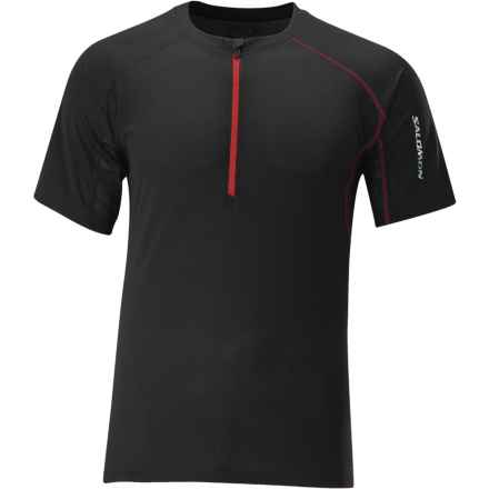 Salomon Trail IV Zip Neck Shirt - Short Sleeve (For Men) in Black - Closeouts