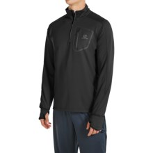 Salomon Trail Runner Warm Shirt - Zip Neck, Long Sleeve (For Men) in Black - Closeouts