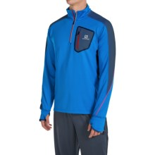 Salomon Trail Runner Warm Shirt - Zip Neck, Long Sleeve (For Men) in Union Blue/Midnight Blue - Closeouts