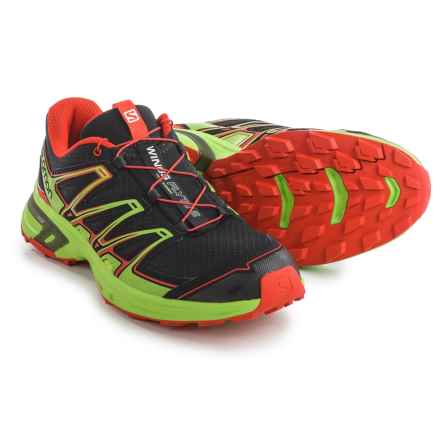 Salomon Wings Flyte 2 Trail Running Shoes (For Men) in Black/Granny Green/Radiant Red - Closeouts