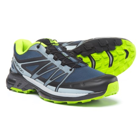 Salomon Wings Pro 2 Trail Running Shoes (For Men) in Slate Blue/Light Onyx/Granny Green