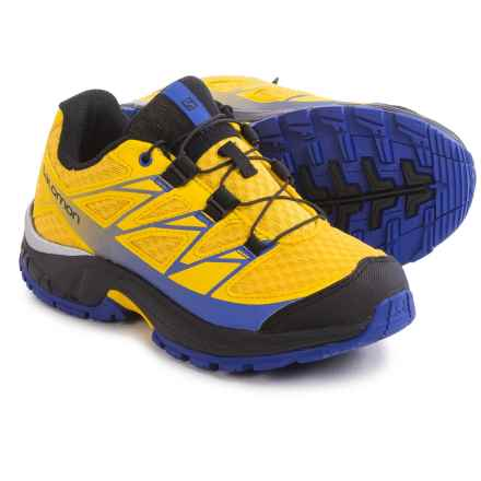 Salomon Wings Trail Running Shoes (For Big Kids) in Bee-X/Black/Cobalt - Closeouts