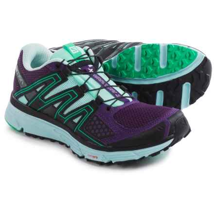 Salomon X-Mission 3 Trail Running Shoes (For Women) in Cosmic Purple/Igloo Blue/Jade Green - Closeouts