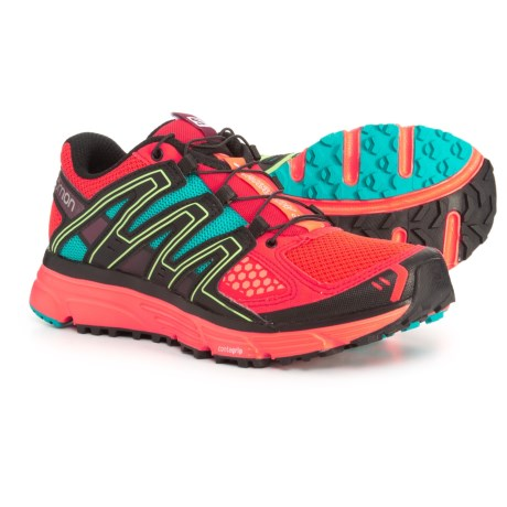 Salomon X-Mission 3 Trail Running Shoes (For Women) in Intrared/Coral Punch/Teal Blue