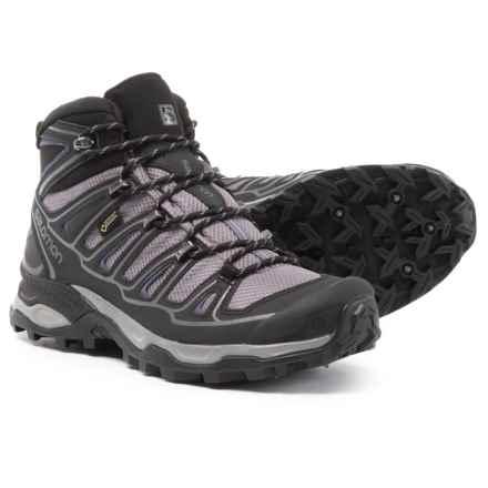 Salomon X Ultra Mid 2 Spikes Gore-Tex® Hiking Boots - Waterproof (For Women) in Detroit/Black/Artist Grey-X - Closeouts
