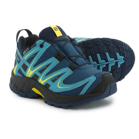 Salomon XA Pro 3D Climashield® Trail Running Shoes - Waterproof (For Kids) in Midnight Blue/Blue Gum/Corona Yellow