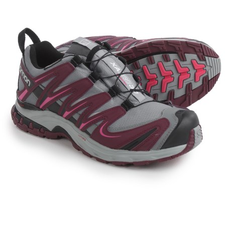 Salomon XA Pro 3D Climashield® Trail Running Shoes - Waterproof (For Women) in Grey/Bordeaux/Hot Pink