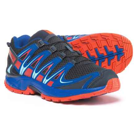 Salomon XA Pro 3D Trail Running Shoes (For Boys) in Deep Blue/Blue Yonder/Lava Orange - Closeouts