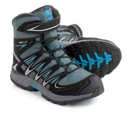 Salomon XA Pro 3D Winter Boots - Waterproof, Insulated (For Big Boys) in Grey Denim/Black/Methyl Blue - Closeouts