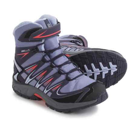 Salomon XA Pro 3D Winter Boots - Waterproof, Insulated (For Big Girls) in Thistle Grey/Nightshade Grey/Coral Punc - Closeouts