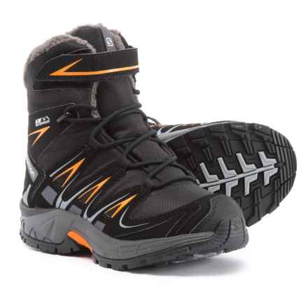 Salomon XA Pro 3D Winter TS CS Hiking Boots - Waterproof, Insulated (For Kids) in Black/India Ink - Closeouts