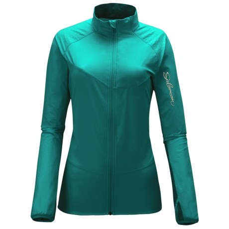 Salomon XA Smart Skin Jacket - Soft Shell (For Women) in Dark Bay Blue/Celadon