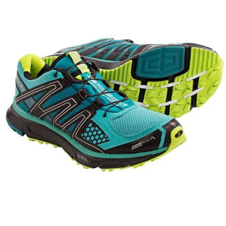 Salomon XR Mission CS Shoes - ClimaShield®, Trail Running (For Women) in Moorea Blue/Black/Green