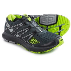 Salomon XR Mission Trail Running Shoes (For Men) in Deep Blue/Grey Denim/Granny Green