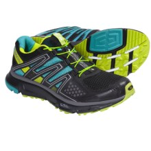 Salomon XR Mission Trail Running Shoes (For Women) in Black/Moorea Blue/Green - Closeouts