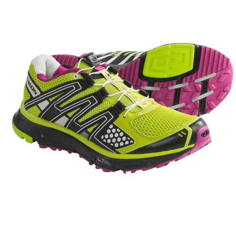 Salomon XR Mission Trail Running Shoes (For Women) in Organic Green/Black/Pink