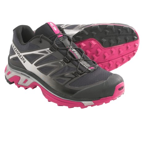 Salomon XT Wings 3 Trail Running Shoes (For Women) in Asphalt/Silver Metallic-X/Fancy Pink