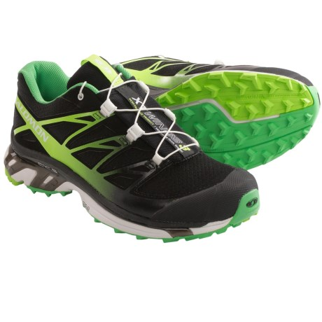 Salomon XT Wings 3 Trail Running Shoes (For Women) in Black/Wasabi/Firefly Green
