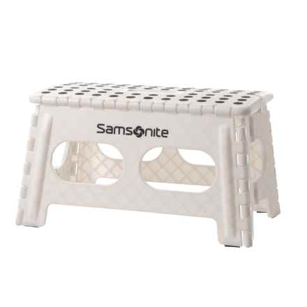 "Samsonite Extra-Wide Folding Step Stool - 9"" in White/Black - Closeouts"
