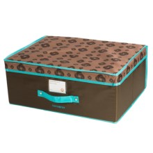 "Samsonite Flip-Top Collapsible Storage Box - 19.5x14.5x8"" in Brown/Turquoise - Closeouts"