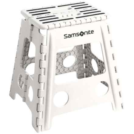 Samsonite Tall Folding Step Stool in White/Black - Closeouts