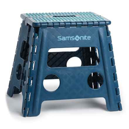 Samsonite Tall Folding Step Stool with Handle in Navy/Light Blue - Closeouts