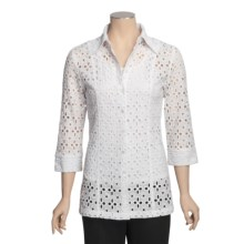Samuel Dong Cotton Eyelet Tunic Blouse - 3/4  Sleeve (For Women) in White - Closeouts