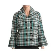 Samuel Dong Plaid Jacket - Double-Breasted (For Women) in White/Aqua - Closeouts